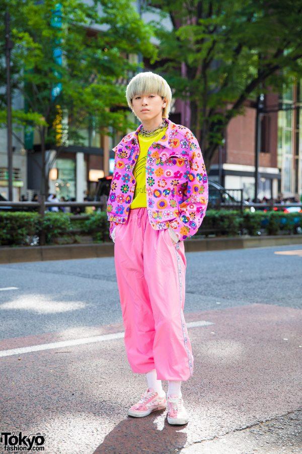 Harajuku Boy in Kobinai Pink Floral Jacket, Vintage Pink Pants & Pink Vans Sneakers