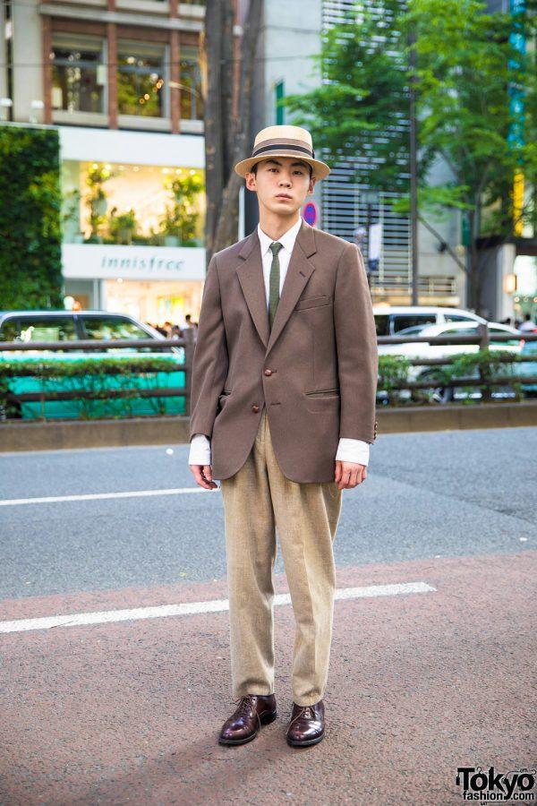 Japanese Hair Stylist Wearing Dapper Vintage Streetwear Style in Harajuku
