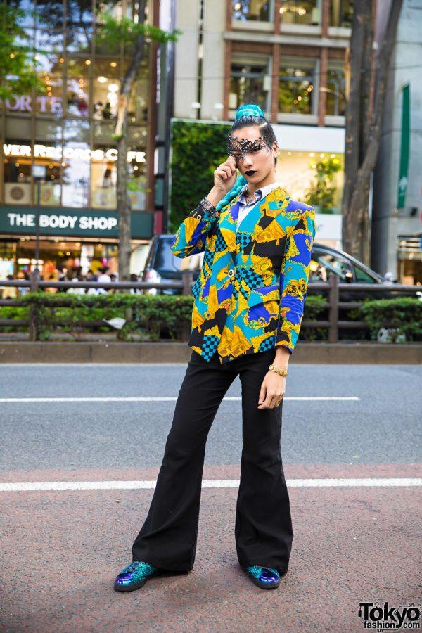 Japanese Streetwear in Harajuku w/ Aqua Braid, Kinji Blazer, Prega Glitter Sneakers & Masquerade Mask