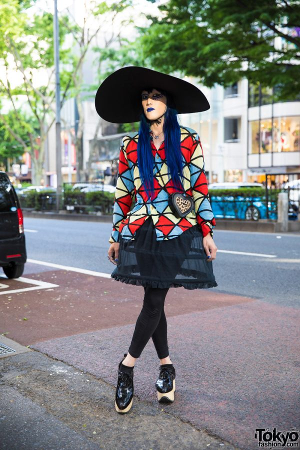 Avant-Garde Harajuku Street Styling w/ Extra Wide Brim Hat, Vivienne Westwood, Chanel & Dr. Martens