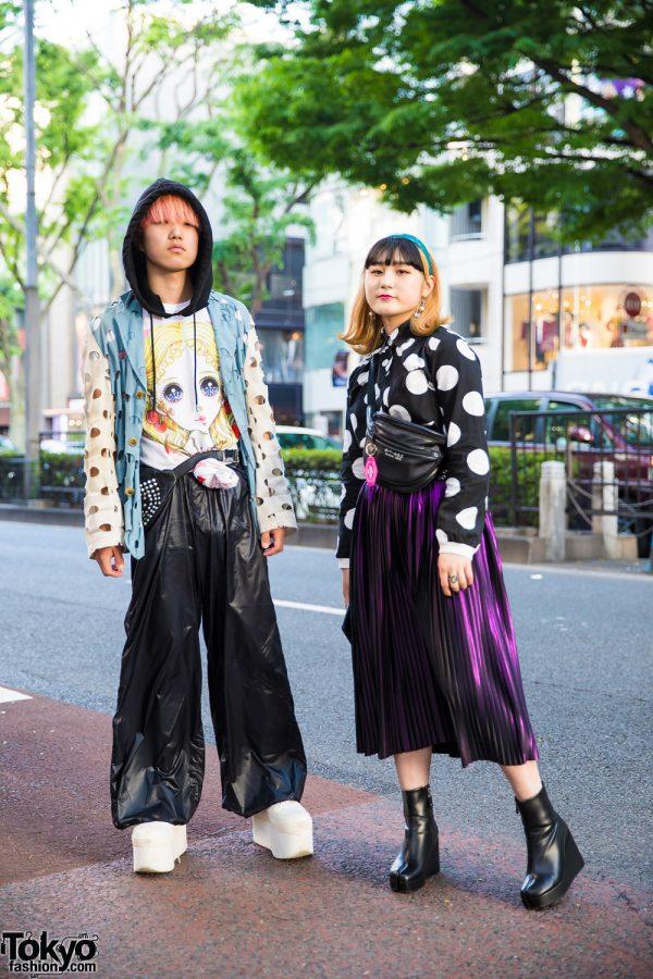 Harajuku Duo's Polka Dot Street Styles w/ Comme des Garcons, Nozomi Ishiguro, PUNYUS, Oh Pearl Tokyo & Dressedundressed