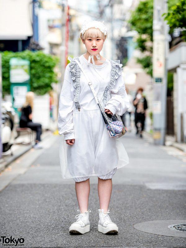 All White Harajuku Streetwear w/ Amatunal, Tokyo Bopper, Comme des Garcons Bloomers, Lace Headdress & Ruffle Suspenders