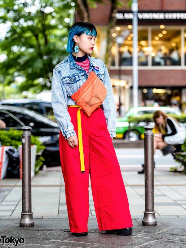 Harajuku Girl Street Style w/ Aqua Hair, Denim Jacket, Jouetie Wide Leg Pants & Platforms