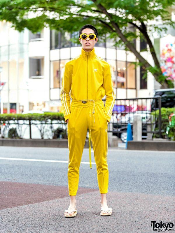 Adidas Originals Yellow Track Suit, Sandals & Sunglasses in Harajuku