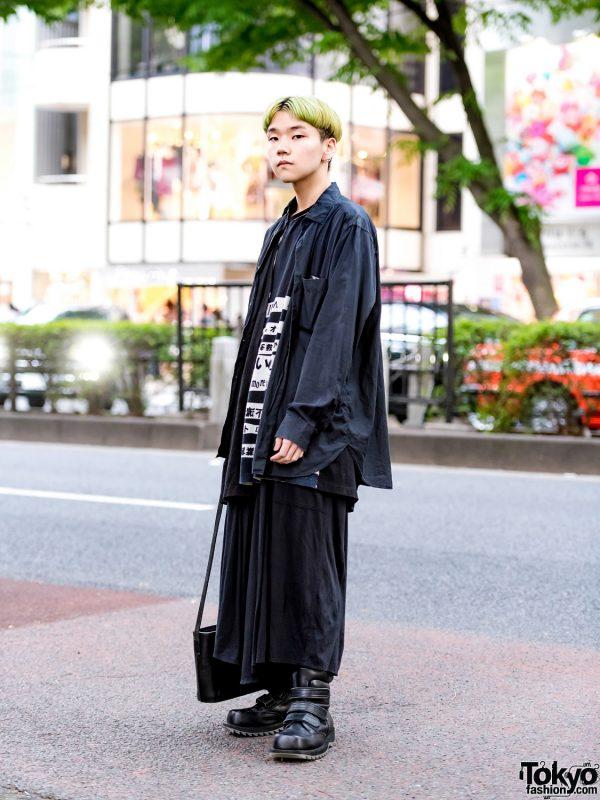 Green Hair & All-Black Harajuku Street Style w/ Yohji Yamamoto, Issey Miyake & Koji Kuga