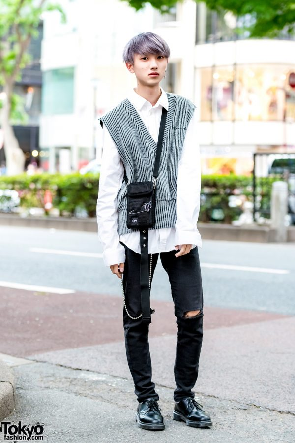 Harajuku Guy w/ Purple Hair, More Than Dope Striped Vest, Givenchy Top, Ripped Jeans, Dr. Martens Shoes & OY Bag