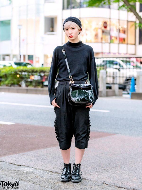 Minimalist Japanese Street Fashion w/ Comme des Garcons, Dr. Martens Boots & Salvatore Ferragamo Crossbody Bag