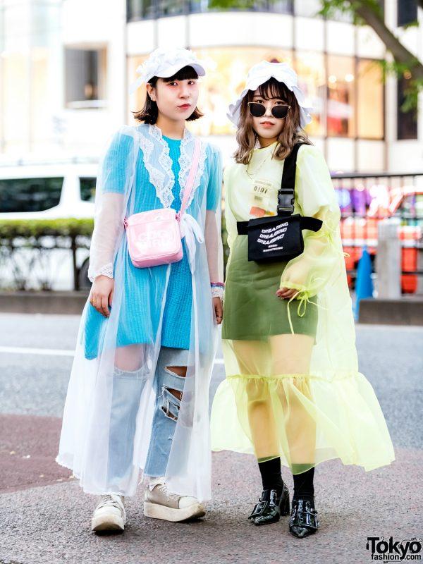 Sheer Coat Japanese Street Styles w/ Nadia Harajuku, Style Nanda, Tokyo Bopper, Comme des Garcons, Keisuke Kanda