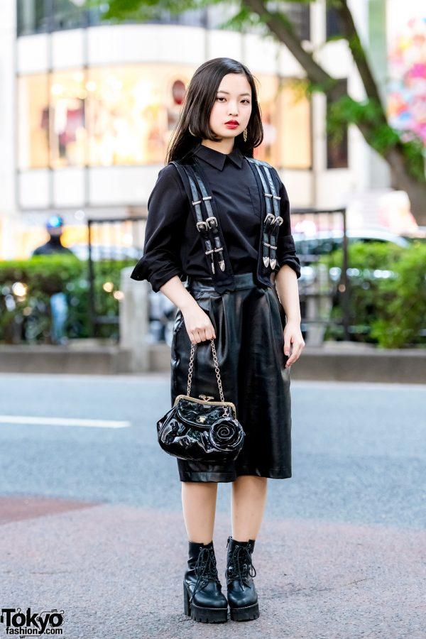 Harajuku Girl in All-Black Street Style w/ Moussy, Kawi Jamele, Anna Sui, Envym & Vintage