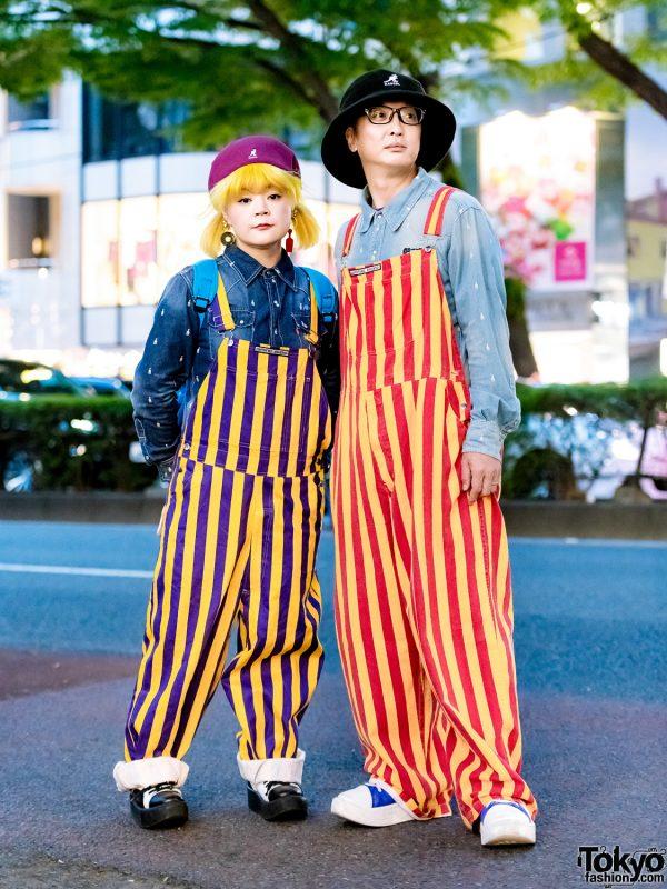 Harajuku Matching Couple Fashion w/ Game Bibs Overalls, Soulsmania, Tokyo Bopper & Kangol