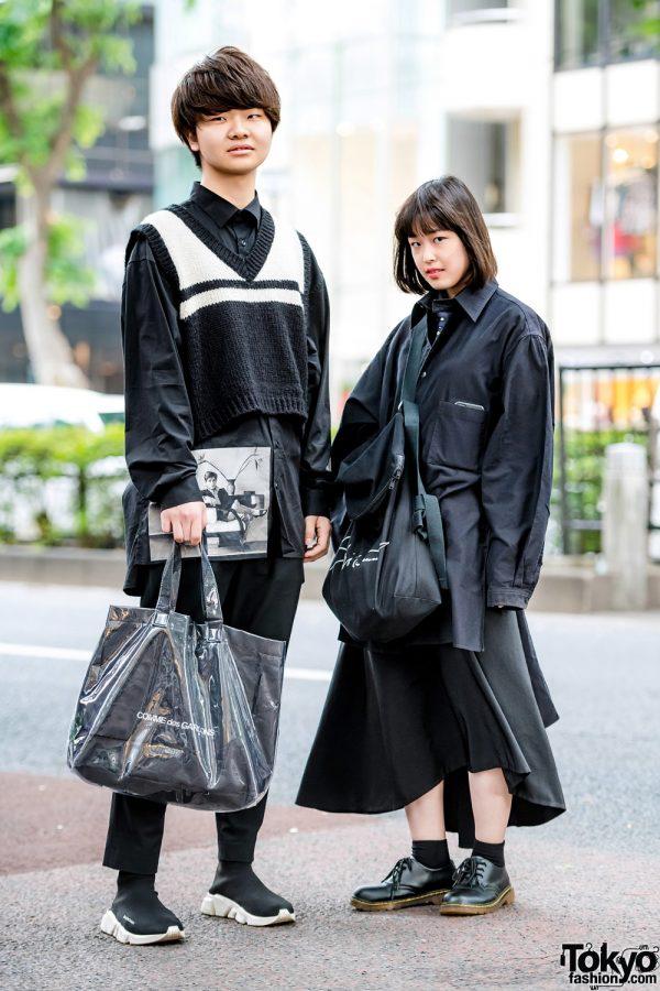 All Black Harajuku Street Styles w/ Rauco House, Cruffin, Comme des Garcons, Balenciaga, Acne Studios, Yohji Yamamoto & Dr. Martens