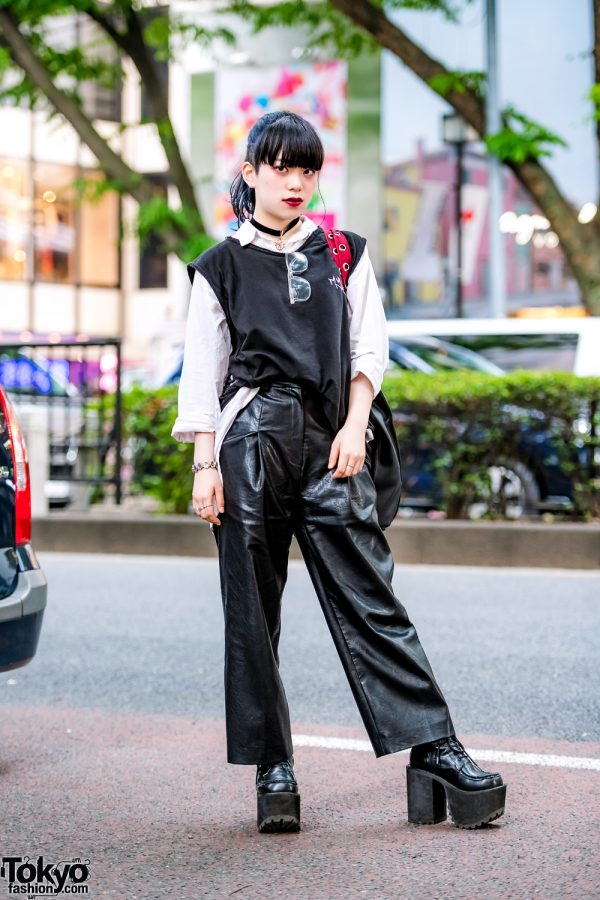 Monochrome Japanese Street Style w/ MYOB Vest, Leather Wide Leg Pants, Yosuke Platforms & WEGO Bag