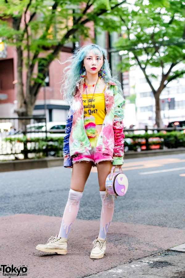 Aqua-haired Harajuku Girl in Handmade Tie-Dye Denim Outfit w/ Crop Top, Paint Socks, Chain Bag & Colorful Accessories