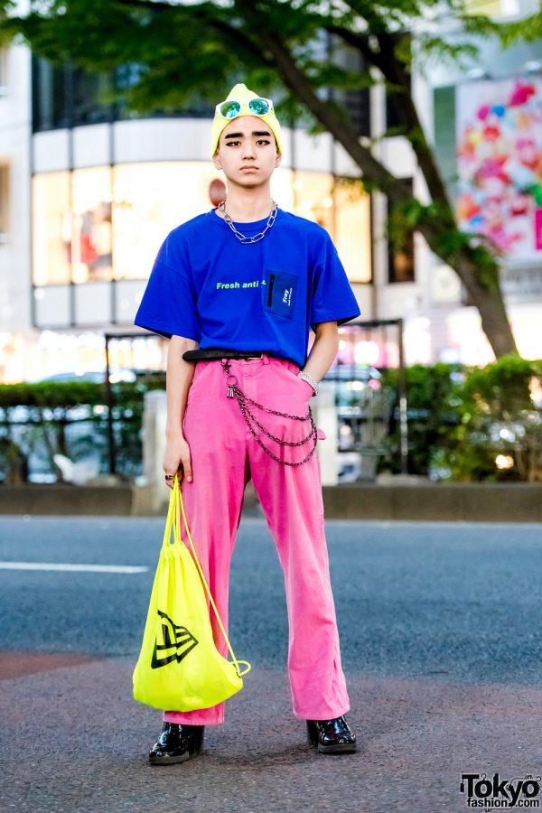Colorful Harajuku Street Style w/ Fresh Anti Youth Pocket T-Shirt, Vintage Pink Pants, Patent Boots & New Era Mesh Backpack
