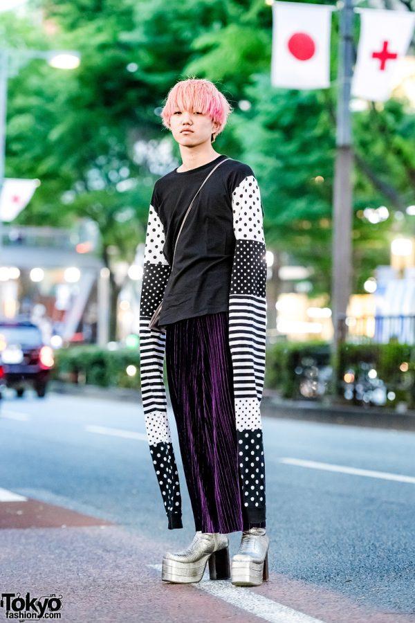 Tokyo Street Style w/ Yaponskii Extra Long Sleeves, Pleated Pants & Platform Snakeskin Boots