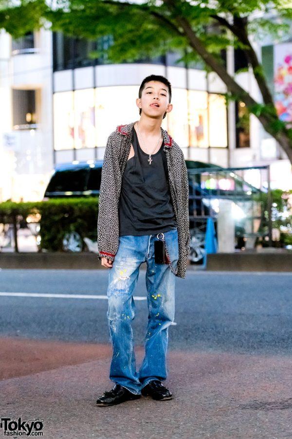 Harajuku Teen's Street Style w/ Gianni Versace Tops, Levi's Distressed Jeans & Vintage Tassel Loafers