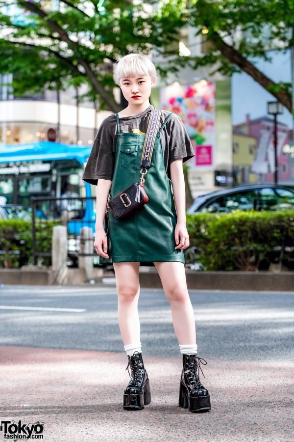 Blonde Harajuku Girl in X-Girl Dress, Marc Jacobs Bag & Tall Never Mind the XU Platform Boots