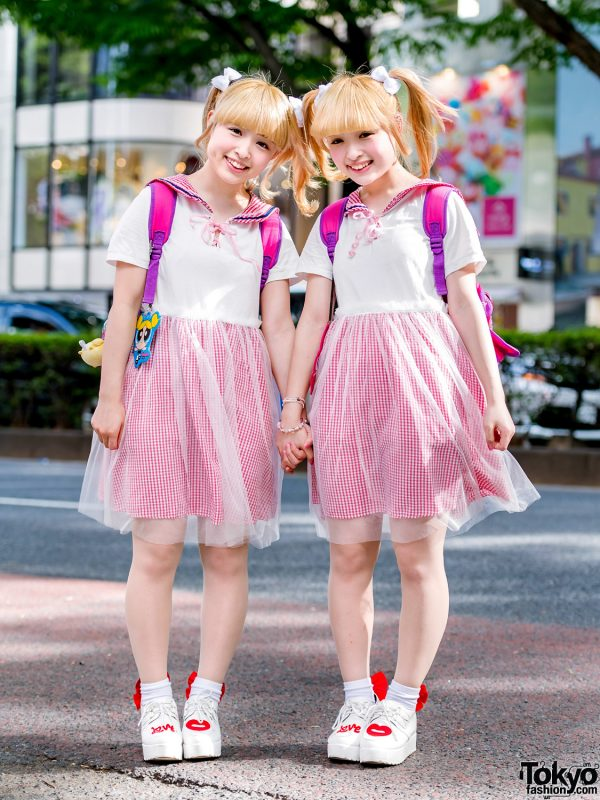 Japanese Twin Idols in Matching Kawaii Harajuku Street Styles