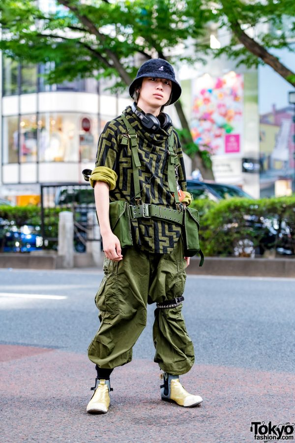 Green Camo Tactical Japanese Streetwear Style w/ Comme des Garcons & Kangol
