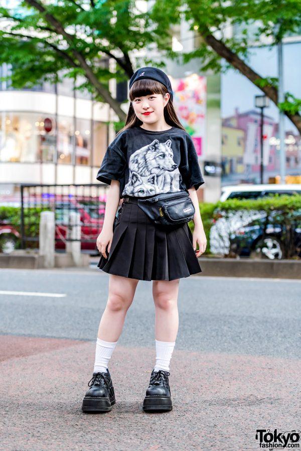 Harajuku Girl in All-Black Tokyo Street Style w/ Kinji, RRR by Sugar Spot Factory, Demonia & Kangol