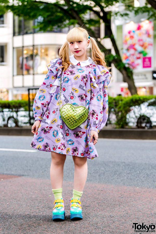 Harajuku Girl w/ Candy Stripper Printed Dress, Yosuke Shoes, Peco Club Heart-Shaped Bag & 6%DOKIDOKI Accessories