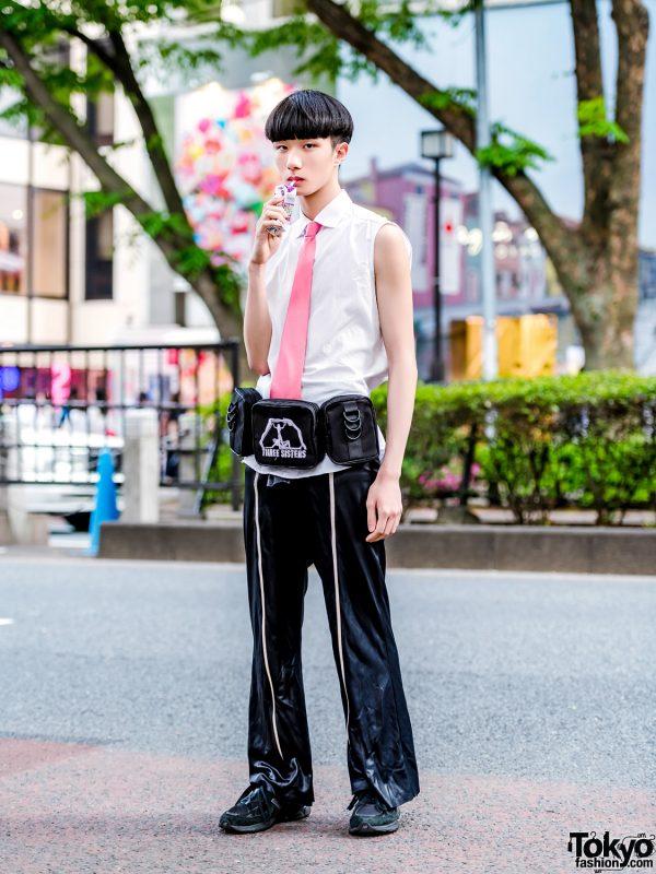 Tokyo Streetwear Style w/ Raf Simons Sleevless Top, Vintage Pants, Pameo Pose Bag & New Balance