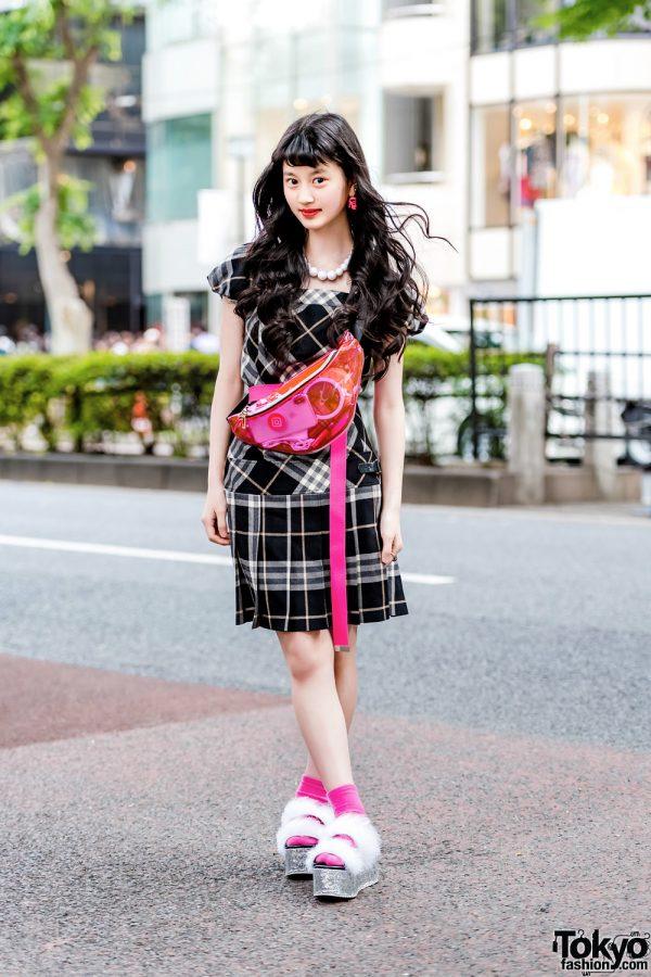 Japanese Teen Model in Retro Streetwear Style w/ San To Nibun No Ichi, Burberry, Claire's & WEGO