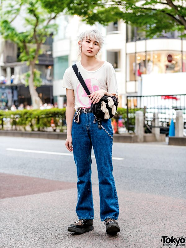 Blond Harajuku Guy in Peel & Lift T-Shirt, Levi's, WTAPS & Christopher Nemeth