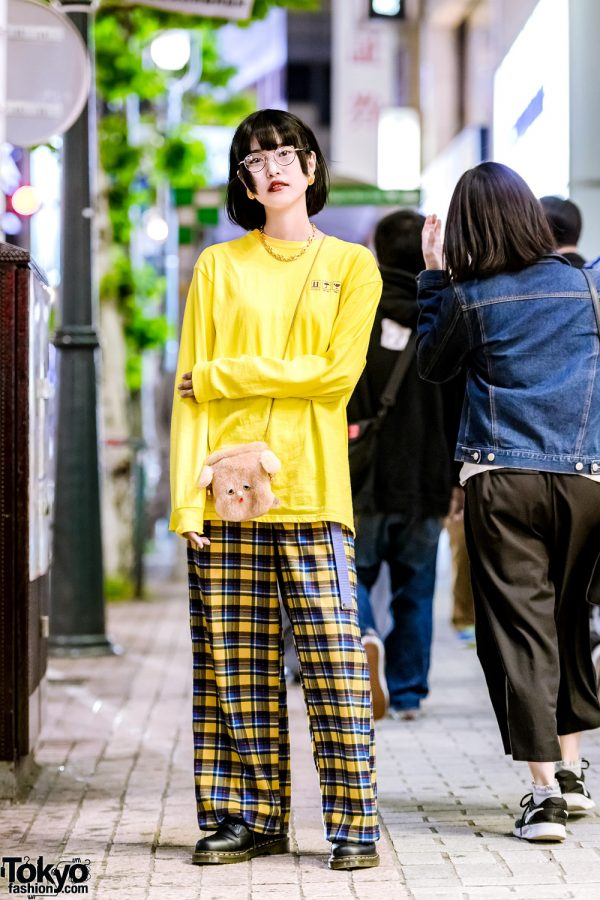 Yellow & Black Color-Coordinated Tokyo Street Style w/ Cute Plush Bag, Spinns & Dr. Martens