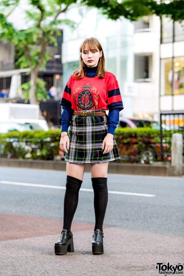 Japanese Vintage Street Style w/ Hardy Amies Knit Top, Plaid Skirt, Gucci Belt & Bubbles Platform T-Strap Shoes