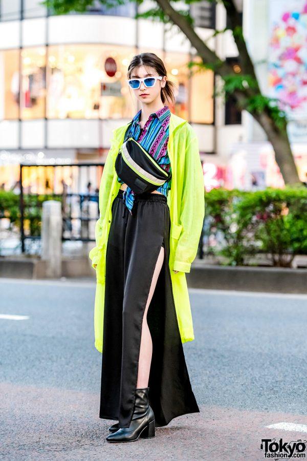 Harajuku Student Model in Neon Jacket & Satin Slit Pants, Waist Bag & Ankle Boots