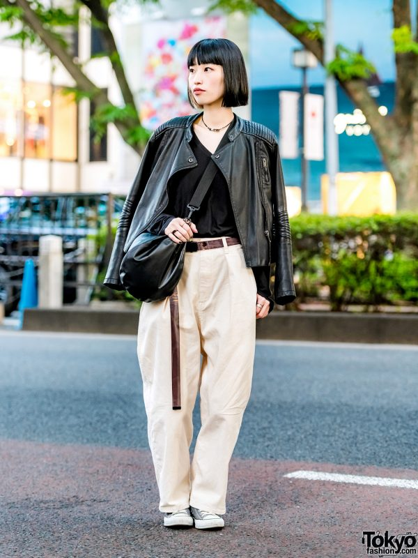 Harajuku Event Staffer's Chic Minimalist Street Style w/ Collarless Motorcycle Jacket, MYne Sling Bag, Converse Sneakers & Theatre Products Necklace