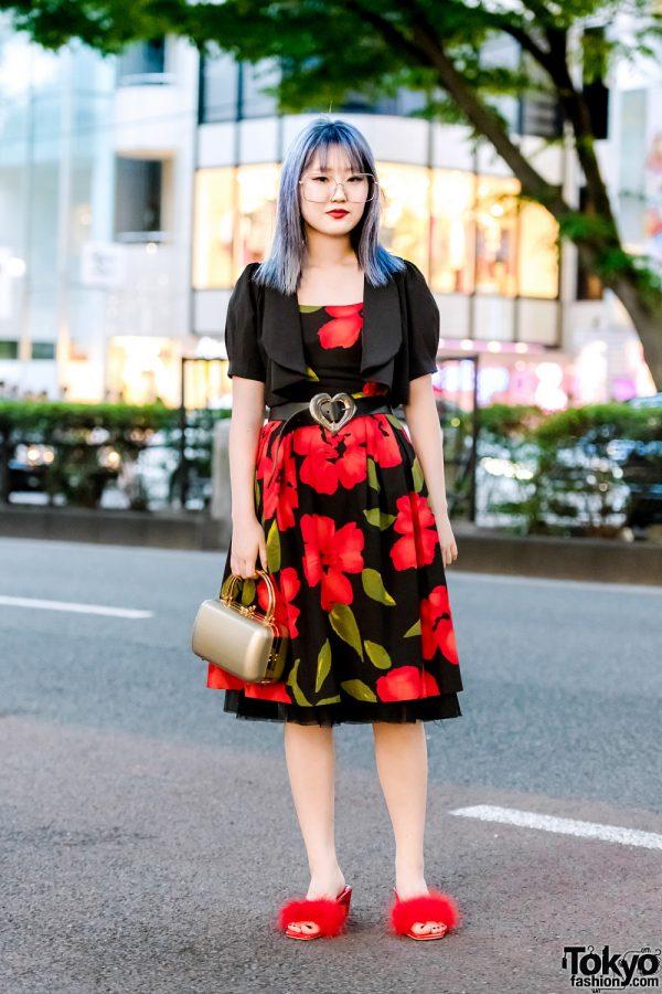 Vintage Floral Dress in Harajuku w/ Oversized Glasses, Bolero Jacket, Fuzzy Heels & Box Handbag