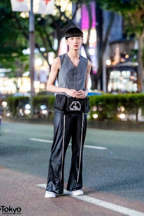 Harajuku Minimalist Street Style w/ Raf Simons Tailored Vest, Reebok Sneakers & Three Sisters Waist Bag