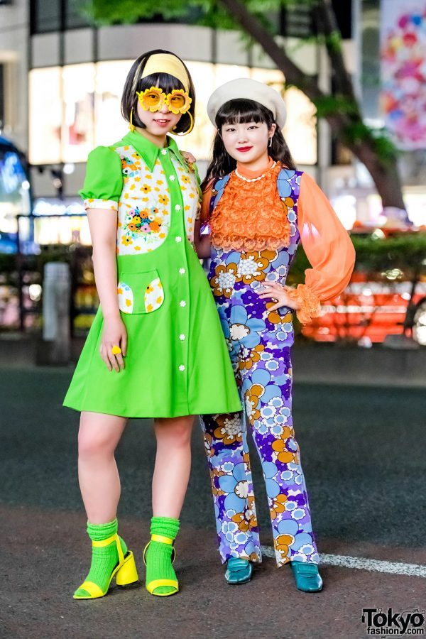 Colorful Retro-Vintage Floral Harajuku Street Fashion w/ Flower Glasses & Neon Socks