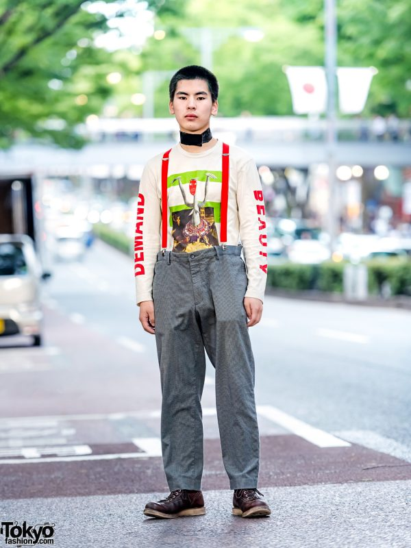 """Suspenders Street Style in Harajuku w/ Walter Van Beirendonck """"Demand Beauty"""", UNIQLO & Red Wing Boots"""
