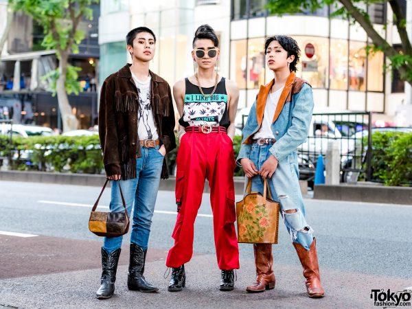 Harajuku Men's Streetwear Styles w/ Cowboy Boots, Fringe Jacket, Levi's Jeans, Gucci & ESC Studio