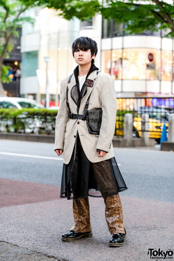 Japanese Streetwear Style w/ Valentino Blazer, Structured Mesh Coat, Snakeskin Pants, Dr. Martens Boots, Leather Harness & Waist Bag