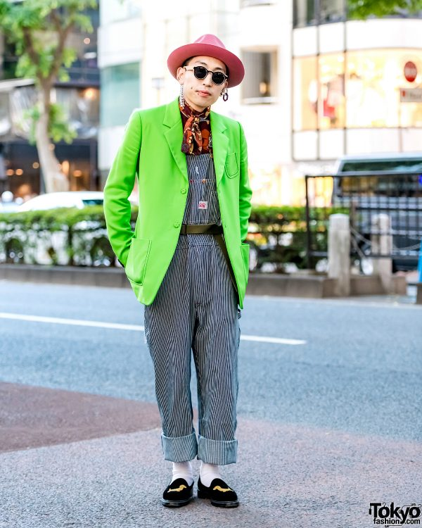 Japanese Streetwear w/ Maison Margiela Neon Blazer, Gucci Top, Striped Overalls & Thom Browne Loafers