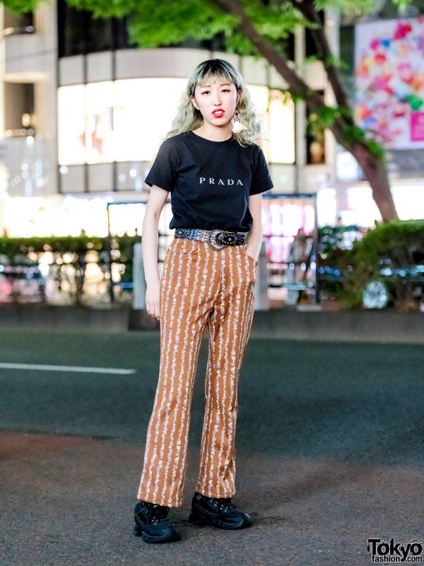 Tokyo Vintage Street Style w/ Prada Top, Tan Print Pants & Black Sneakers