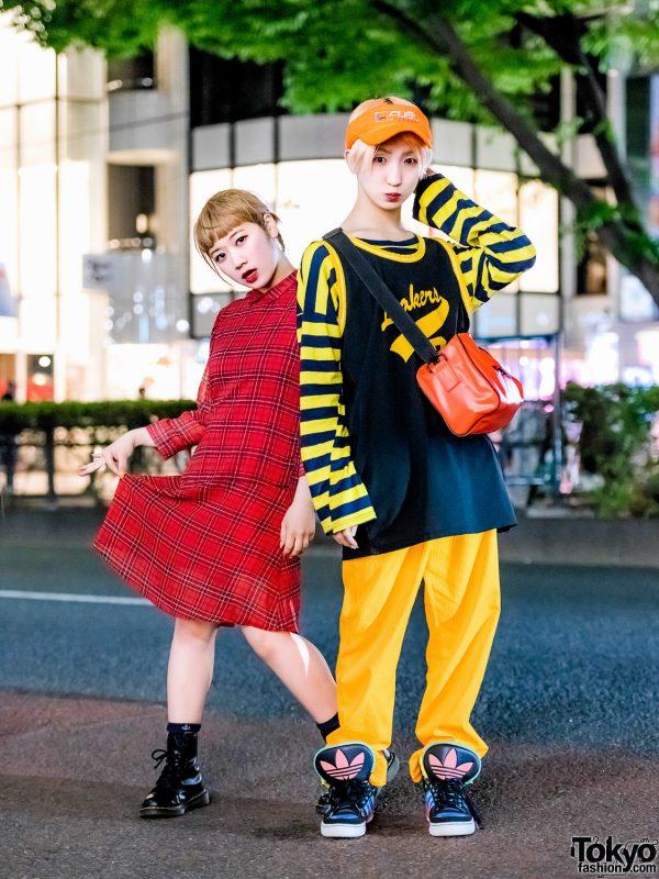Tempura Kidz Karen & P-Chan in Harajuku w/ FUBU x Versace, Lakers, Dr. Martens, Adidas & SAS Sling Bag