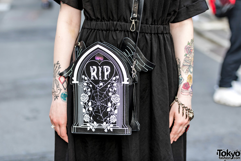 Gothic Harajuku Street Style w/ GU, Dr. Martens, Leather