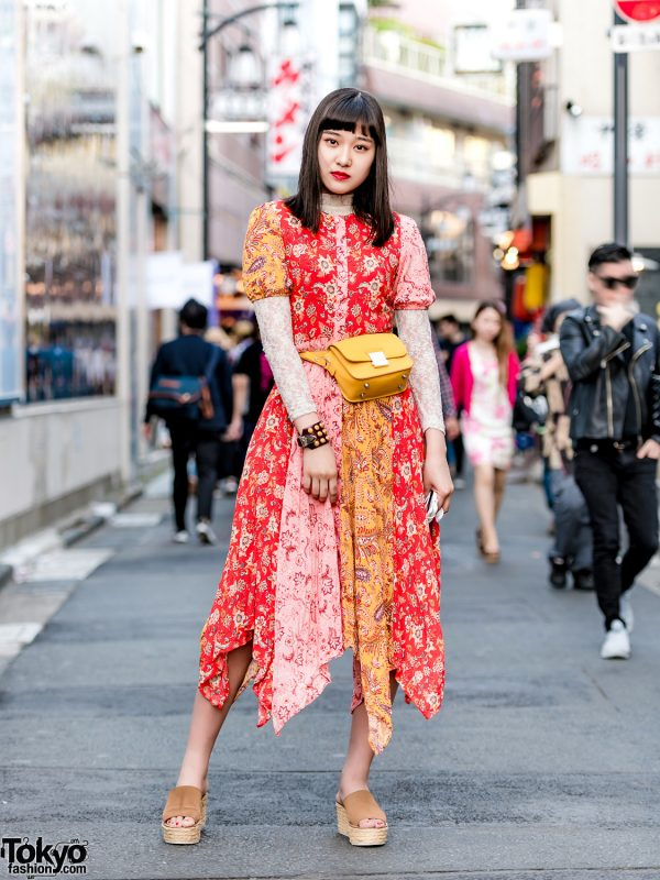 Japanese Teen Model & Actress in Harajuku w/ Floral Dress, Toga Suede Wedges & Waist Bag