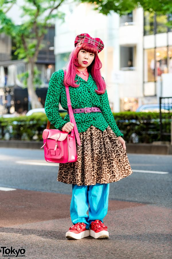 Kinji Staffer in Mixed Prints Street Style w/ H&M, Retro Girl, Kinji, Tokyo Bopper, The Cambridge Satchel Company & HEIHEI