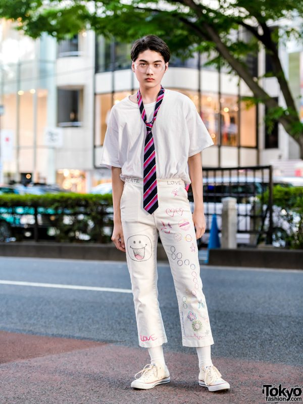 Japanese Model in All White Streetwear w/ Remake Writing Cropped Pants, Converse Sneakers & Paul Smith Necktie