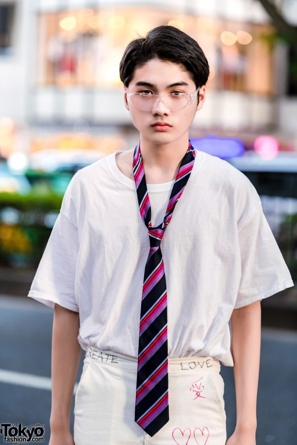 Japanese Model In All White Streetwear W Remake Writing
