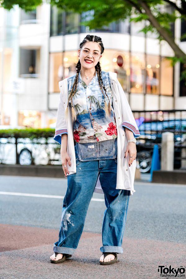 Casual Harajuku Street Style w/ Aloha Hawaiian Shirt, Dickies Cuffed Denim Overalls & VidaKush Accessories
