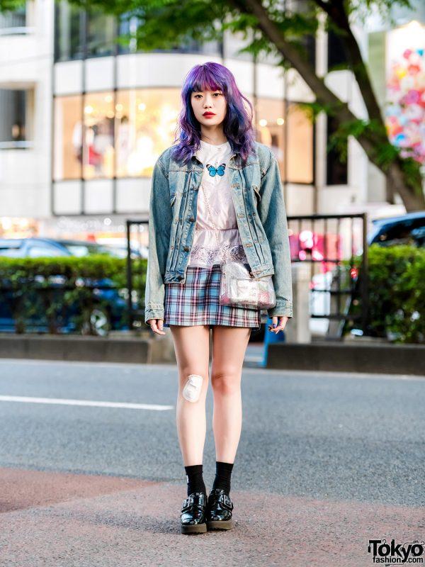 Elleanor in Harajuku w/ Kinji Denim Jacket, Lace Camisole, WC Plaid Skirt & Heels