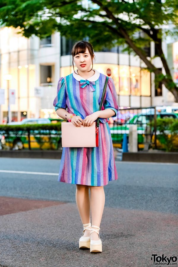 Japanese Retro Fashion Style w/ G2? Rainbow Dress, Tokyo Bopper Ankle-Strap Shoes, Ruby And You Bag & Panama Boy Accessories