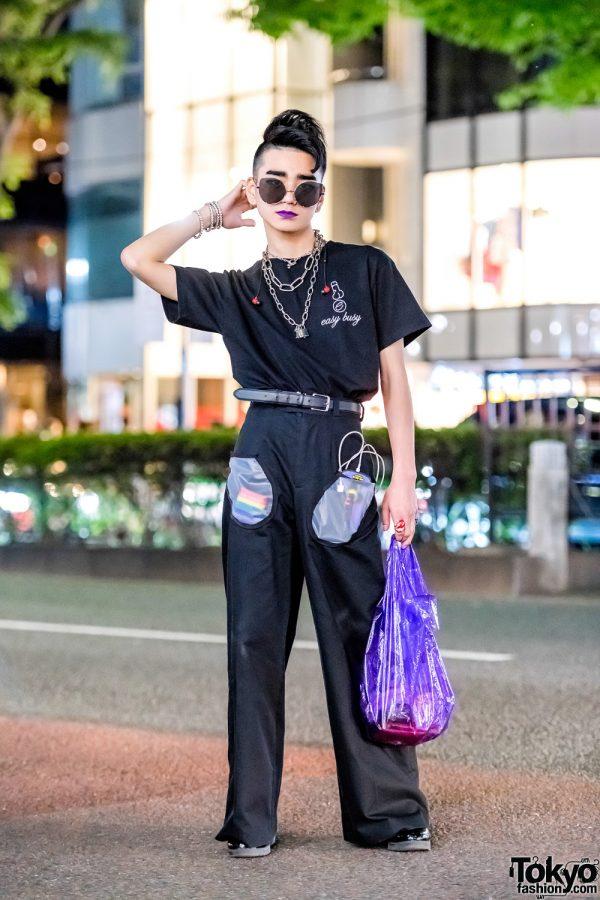 Harajuku Guy in All-Black Vintage Streetwear Fashion